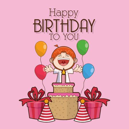scream: kid boy cartoon cake scream celebration happy birthday icon. Colorful design. Vector illustration