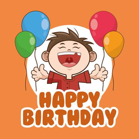 scream: kid boy balloons cartoon scream celebration happy birthday icon. Colorful design. Vector illustration Illustration