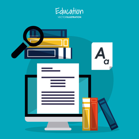 computer education: computer books lupe document education learning school icon. Colorful design. Vector illustration Illustration