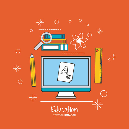 computer education: computer ruler pencil books lupe education learning school icon. Colorful design. Vector illustration Illustration