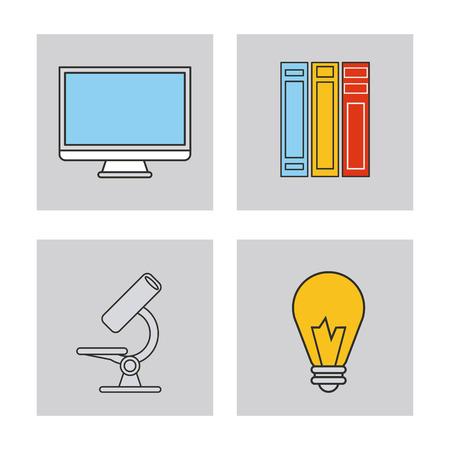 computer education: book microscope computer bulb education learning school icon. Colorful design. Vector illustration