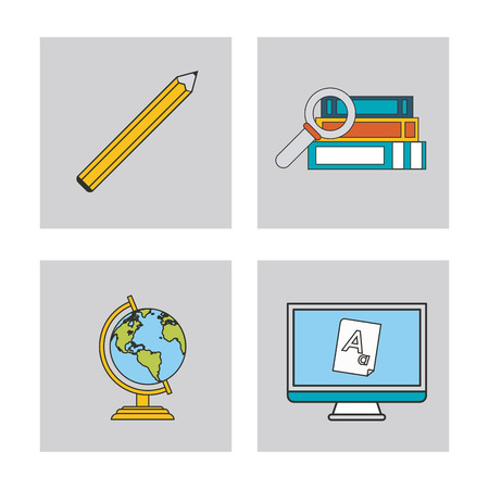 computer education: book planet sphere computer pencil education learning school icon. Colorful design. Vector illustration