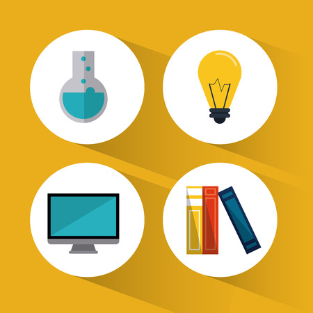 computer education: book computer flask bulb education learning school icon. Colorful design. Vector illustration