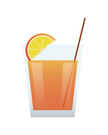 champagne orange: flat design single cocktail icon vector illustration