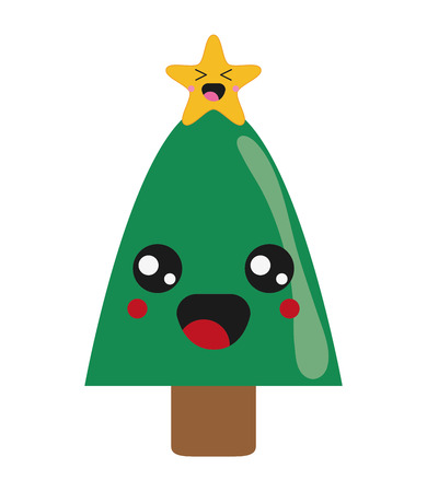 Flat Design Cute Christmas Tree Icon Vector Illustration Vector