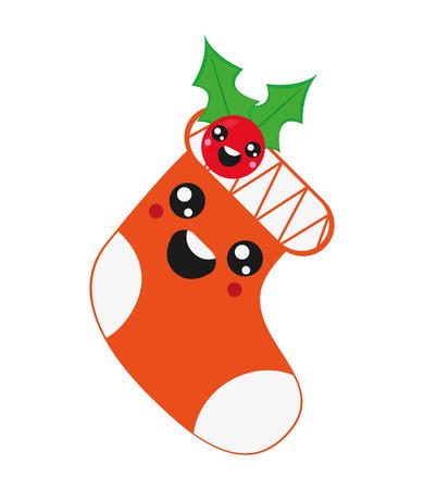 flat design cute christmas stocking icon vector illustration