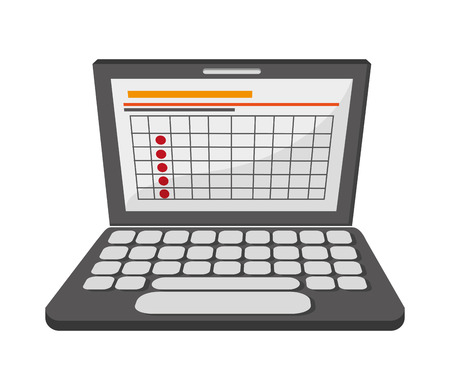 frontview: flat design laptop frontview icon vector illustration