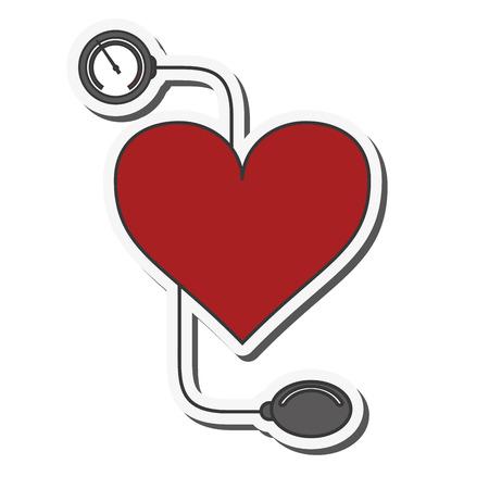 hypertensive: flat design blood pressure cuff icon vector illustration