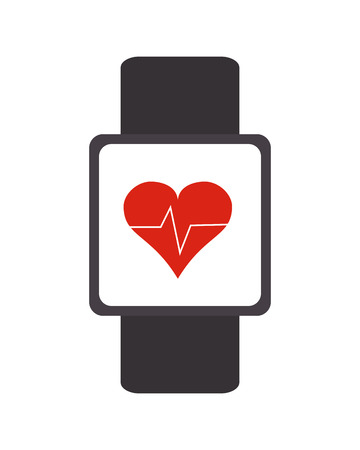 wristband: flat design heartbeat monitor wristband icon vector illustration