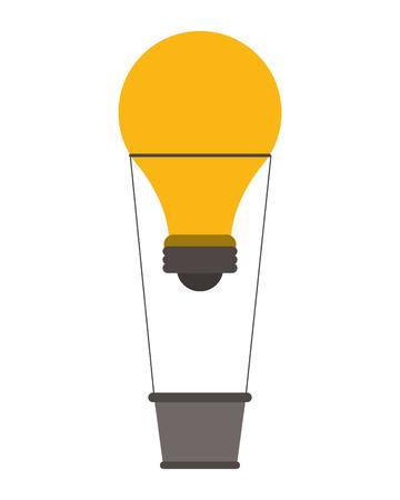 great idea: light bulb hot air balloon great idea creative icon. Flat and Isolated design. Vector illustration