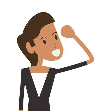 negotiate: businesswoman cartoon woman female avatar business icon. Flat and Isolated design. Vector illustration