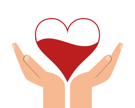 heart hand blood donation medical health care icon. Flat and Isolated design. Vector illustration Illustration