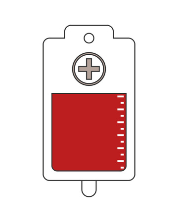 clinical laboratory: blood bag donation medical health care icon. Flat and Isolated design. Vector illustration Illustration