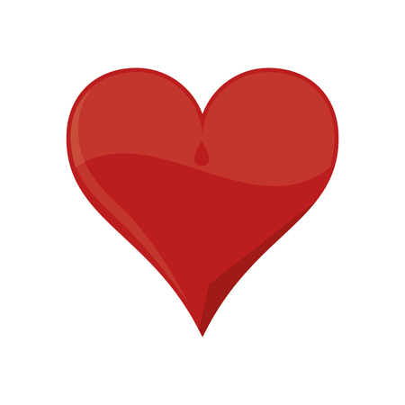 heart health: heart red love shape romantic passion icon. Flat and Isolated design. Vector illustration