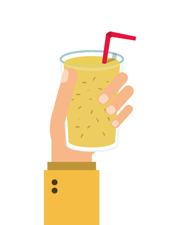 detox: juice glass drinking straw drink beverage fresh icon. Flat and isolated design. Vector illustration