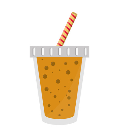 drinking straw: juice glass drinking straw drink beverage fresh icon. Flat and isolated design. Vector illustration