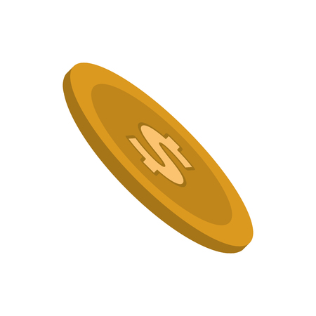 finacial: coin cash money finacial item icon. Flat and Isolated design. Vector illustration