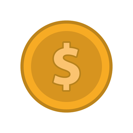 coin cash money finacial item icon. Flat and Isolated design. Vector illustration