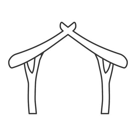 sacra famiglia: casa di legno sacra famiglia Buon Natale icona. Design piatto e isolato. illustrazione di vettore