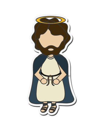 sacra famiglia: joseph holy family merry christmas icon. Flat and isolated design. Vector illustration