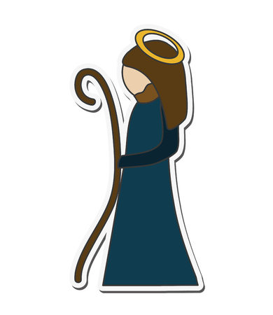 sacra famiglia: mary holy family merry christmas icon. Flat and isolated design. Vector illustration