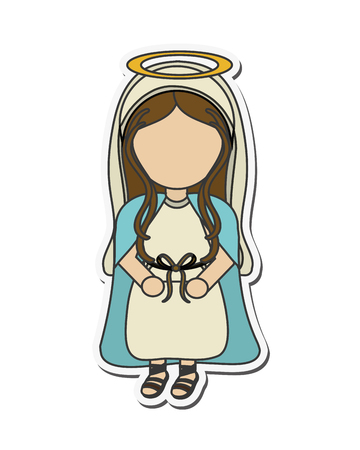 holy family: mary holy family merry christmas icon. Flat and isolated design. Vector illustration