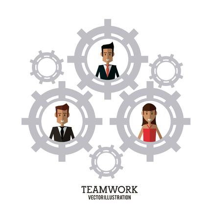 collaborative: avatar businessman woman gear teamwork support collaborative unity icon. flat design. Vector illustration