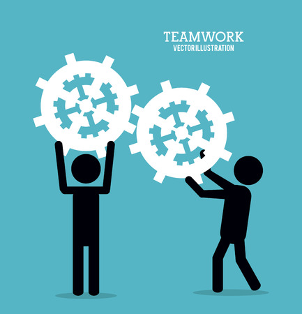 collaborative: pictogram gear teamwork support collaborative unity icon. flat design. Vector illustration