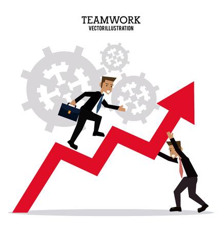 collaborative: avatar businessman gear teamwork support collaborative unity icon. flat design. Vector illustration Illustration