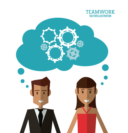 avatar businessman woman gear teamwork support collaborative unity icon. flat design. Vector illustration