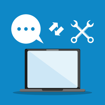 coworker: laptop tools bubble call center technical service icon. Colorful design. Vector illustration Illustration