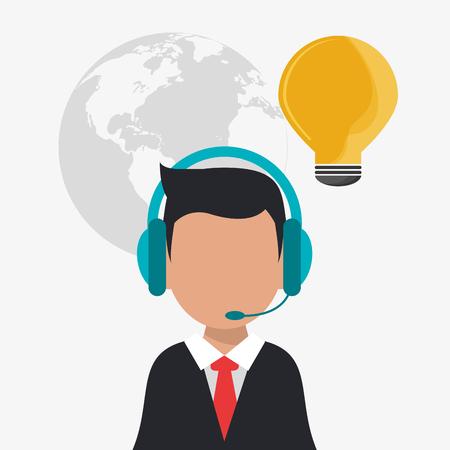 hombre de auriculares avatar bulbo centro de llamadas icono de servicio técnico. El diseño colorido. ilustración vectorial
