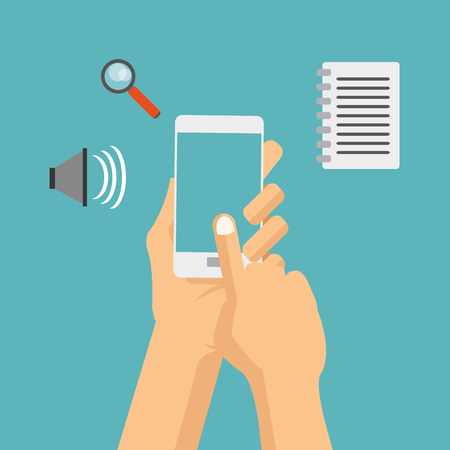 detected: smartphone paper lupe cyber security system technology icon. Colorful and flat design. Vector illustration Illustration
