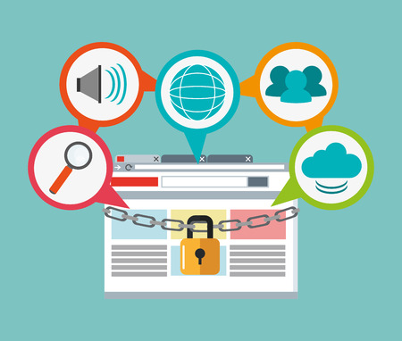 piracy: padlock site lupe cloud cyber security system technology icon. Colorful and flat design. Vector illustration