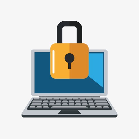 laptop icon: laptop padlock cyber security system technology icon. Colorful and flat design. Vector illustration Illustration