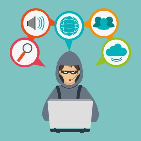 ordinateur portable hacker nuage lupe icône de la technologie du système de cyber sécurité mondiale. Design coloré et plat. Illustration vectorielle Vecteurs