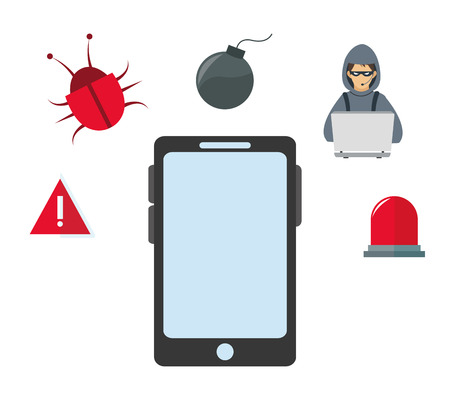 alarm security: smartphone hacker bug alarm cyber security system technology icon. Colorful and flat design. Vector illustration