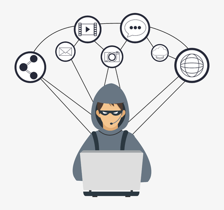 hacker laptop share camera global cyber security system technology icon. Colorful and flat design. Vector illustration