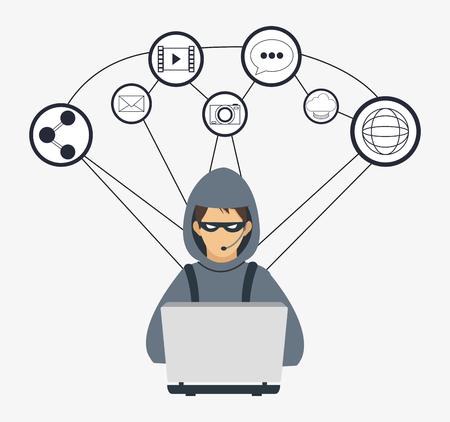 ordinateur portable piraté partage l'icône de la technologie du système de sécurité cyber-clé mondial. Conception colorée et plate. Illustration vectorielle