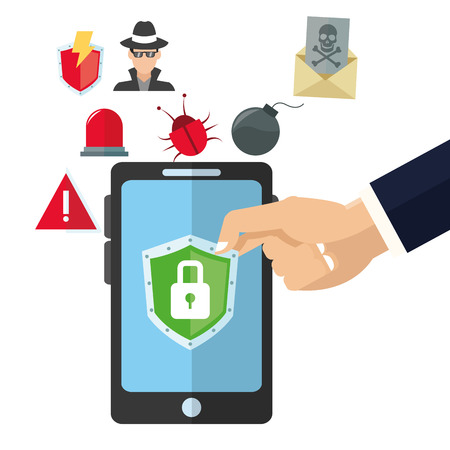 piracy: padlock smartphone cyber security system technology icon set. Colorful and flat design. Vector illustration