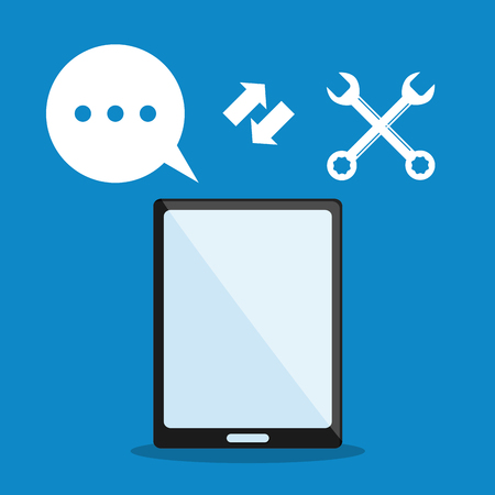 coworker: smartphone tools bubble call center technical service icon. Colorful design. Vector illustration