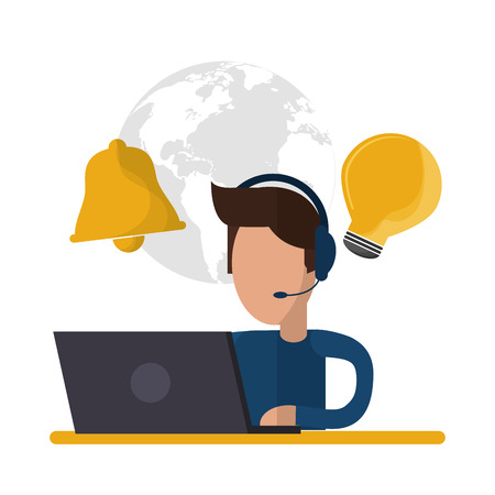 man headphone laptop avatar call center technical service icon. Colorful design. Vector illustration Illustration