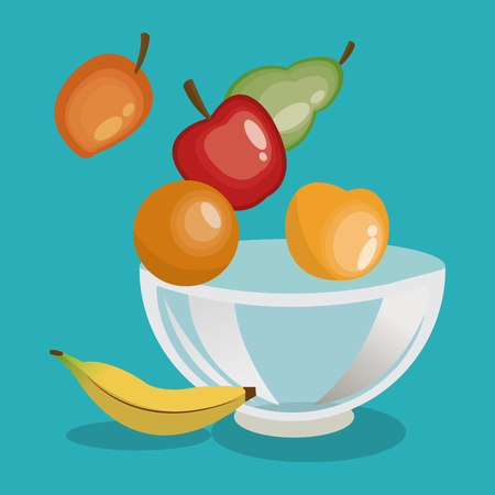fruits bowl organic healthy food cooking restaurant kitchen icon. Colorful and Flat design. Vector illustration Illustration