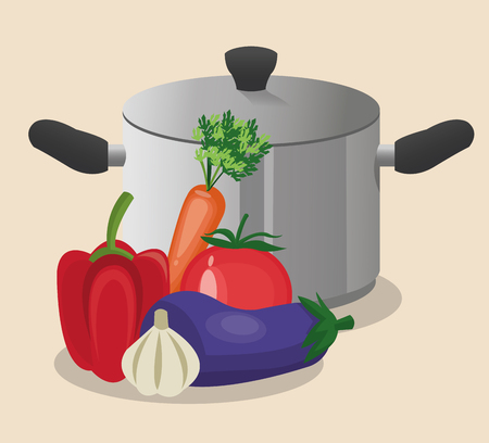 cooking pot: vegetables cooking pot organic healthy food restaurant kitchen icon. Colorful and Flat design. Vector illustration Illustration