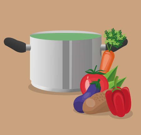 produce product: vegetables cooking pot organic healthy food restaurant kitchen icon. Colorful and Flat design. Vector illustration Illustration