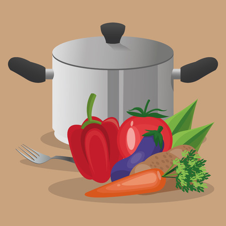 cooking pot: vegetables cooking pot fork organic healthy food restaurant kitchen icon. Colorful and Flat design. Vector illustration