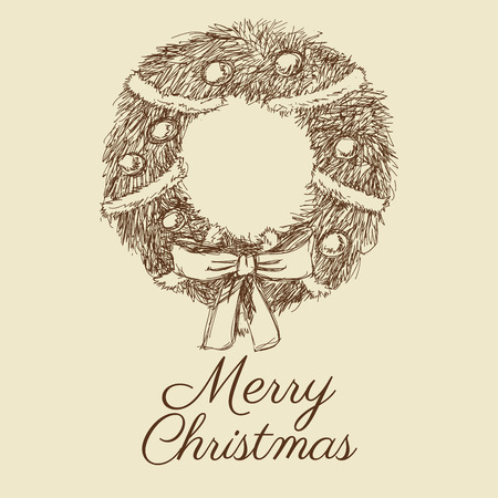 corona navidad: coronar Feliz Navidad celebración de la decoración icono. empate aislados y diseño del bosquejo. ilustración vectorial