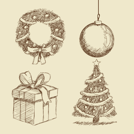 corona navidad: gift present sphere crown pine tree merry christmas decoration celebration icon. Isolated draw and sketch design. Vector illustration