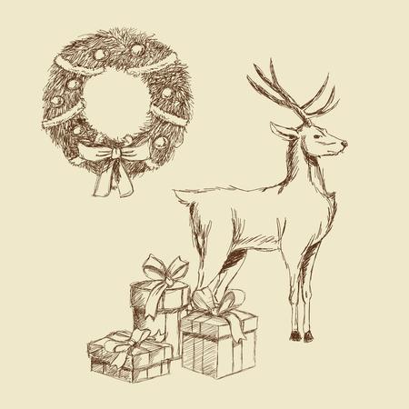 corona navidad: actual regalo corona renos ciervo Feliz Navidad decoración celebración icono. empate aislados y diseño del bosquejo. ilustración vectorial