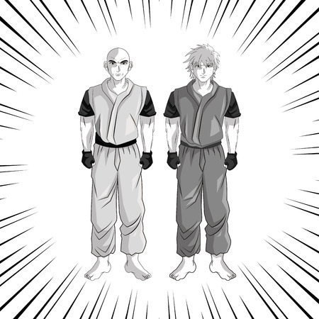 anime young: man boy young anime manga comic cartoon fight icon. Black white grey striped and isolated design. Vector illustration